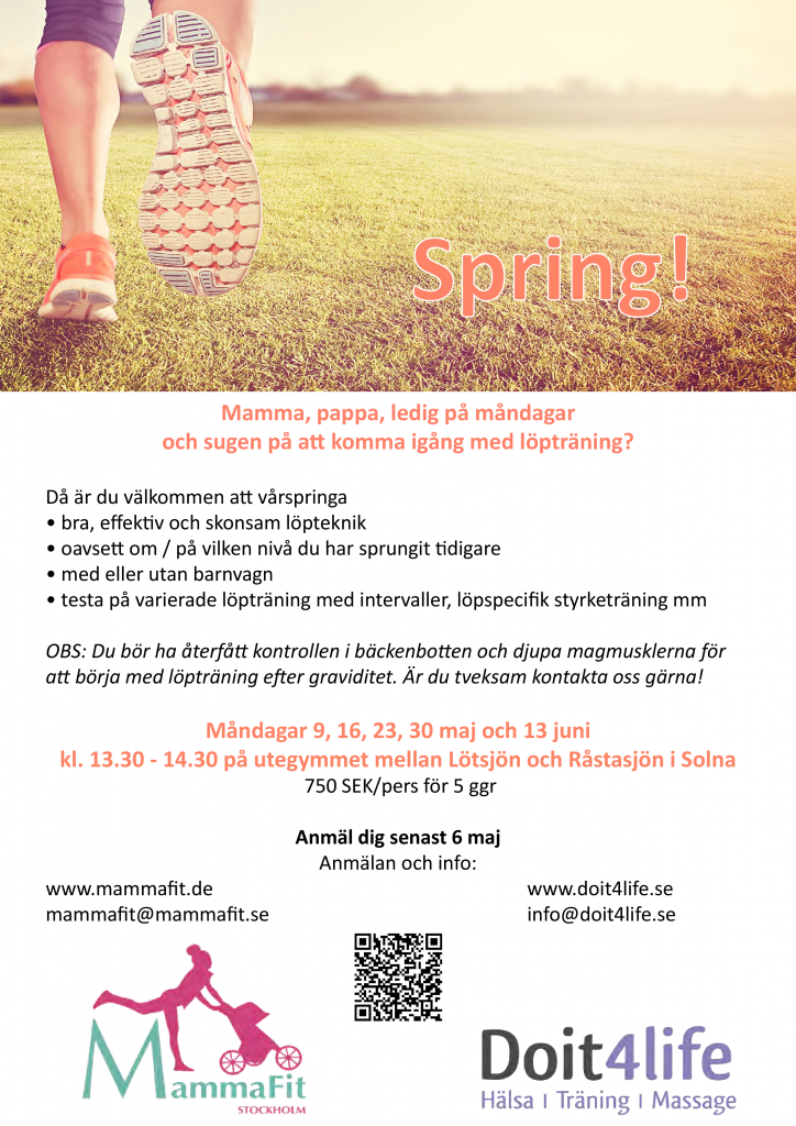 Löpträning Mammafit och Doit4life_affisch
